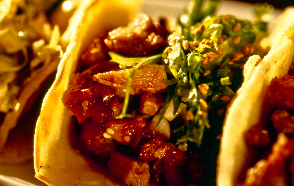 ... chicken spicy. With a little bit more kick than our spicy pork taco