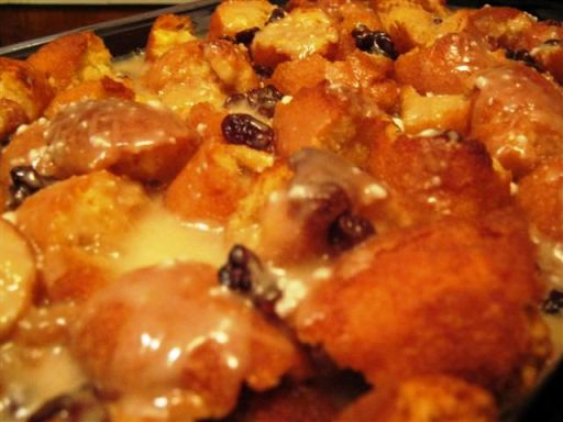 Cake Donut Bread Pudding with Rum Sauce. The Finished Product!