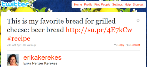 Erika's Beer Bread Tweet