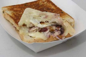 The double creamed brie w/chicken salad from The Grilled Cheese Truck.