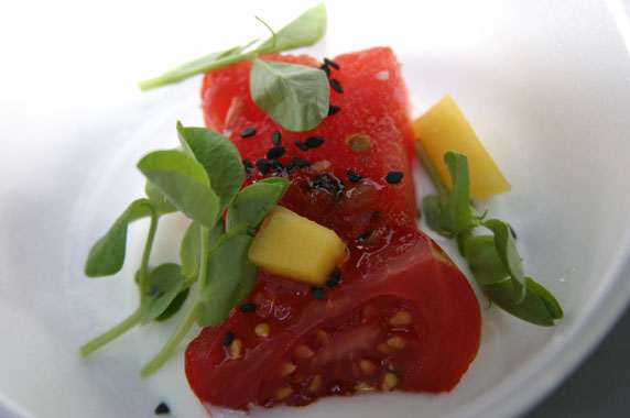 Campari tomato, diced mangos and watermelon with Thai bird chili