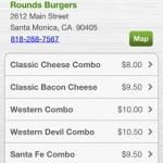 Rounds Burger Menu from Pay Dragon interface