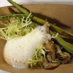 asparagus, baby frisee, mushrooms, poached egg and parmesan froth.