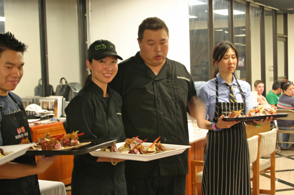 Tony describing the braised beef short rib, wasabi pommes puree, crispy shallots and gochujang jus.