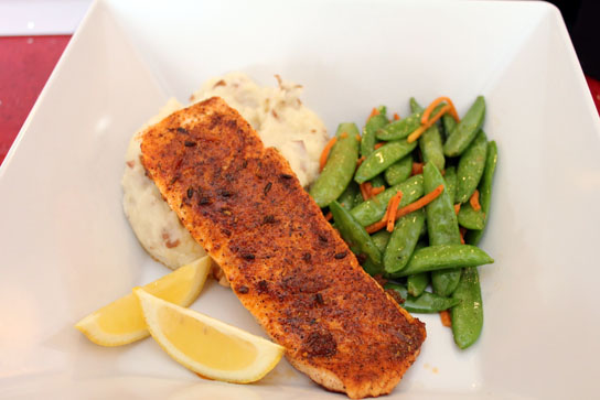 Blackened Salmon with potatoes and seasonal vegetables ($14.99)