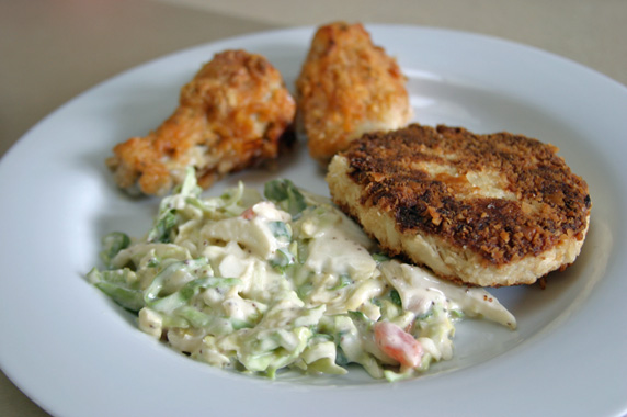 Crab cake, creole cole slaw and cajun wings