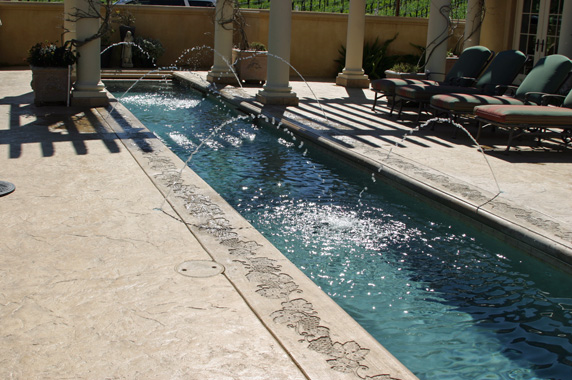 Lap pool in front of the entrance.