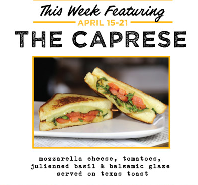 This week The Counter Burger is featuring the Caprese during their celebration of National Grilled Cheese Month