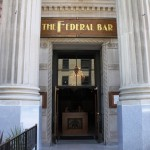 The columns outside the entrance of the Federal Bar, Long Beach